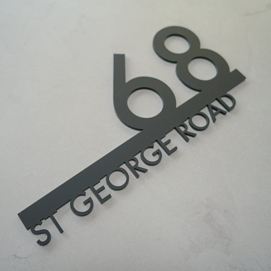 2D Cut Out Acrylic Number & Street Name Sign