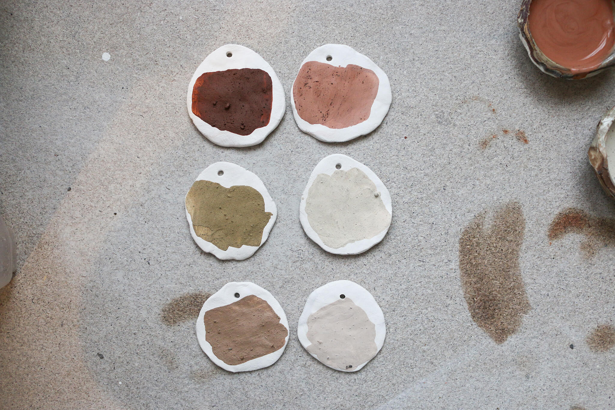 Testing colours on clay