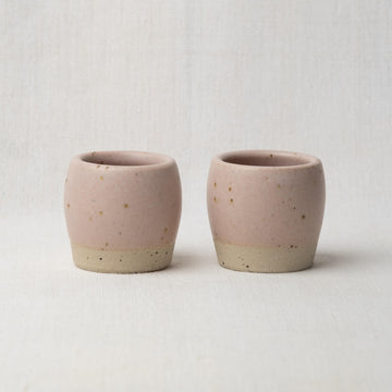 Hand Made Espresso Cups Pair - Feldspar Pink Speckle