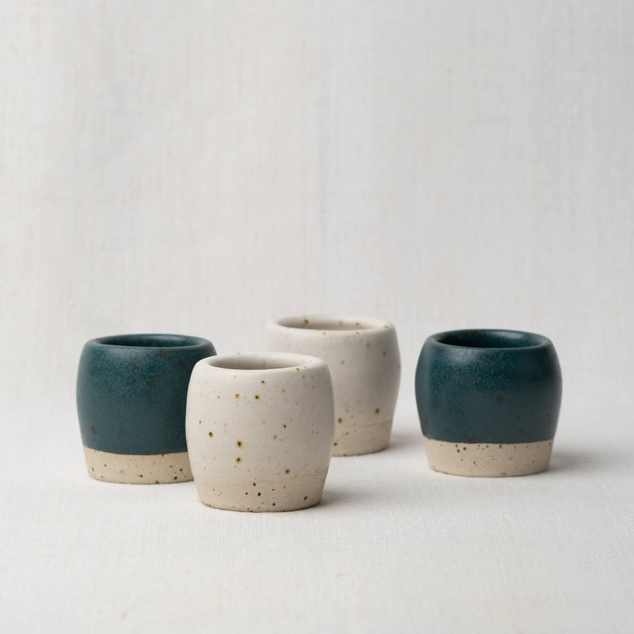Dor & Tan Espresso Cups Pair - Matte White Speckled