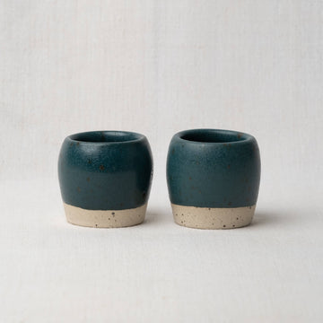Hand Made Espresso Cups Pair - Nori Green Speckle