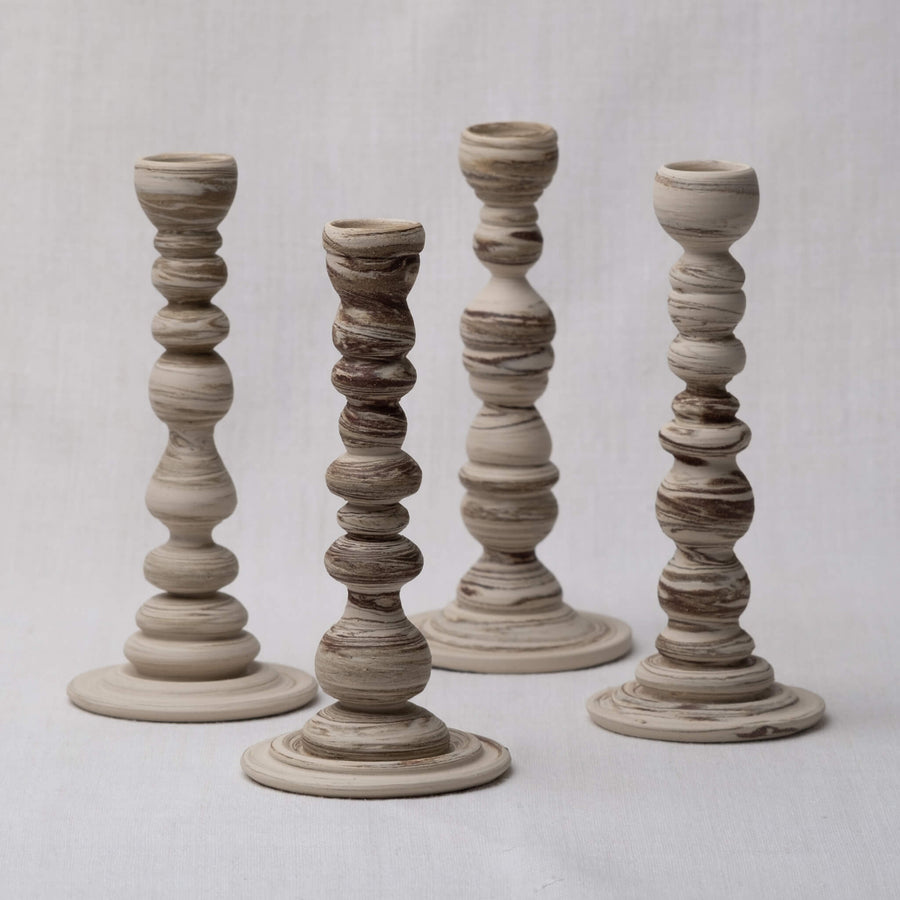 Group of 4 Large Sandscape Candle Holders