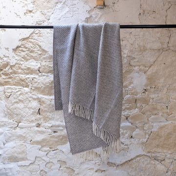 Polka Wool Blanket - Pale Grey