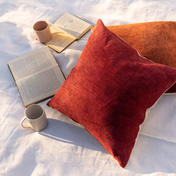 Hand dyed linen cushion – Maroon