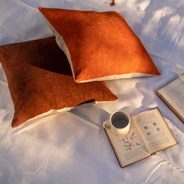 Hand dyed linen cushion – Russet