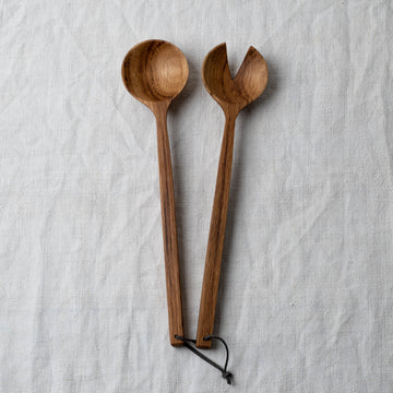 Selwyn House Brown Oak Salad Servers
