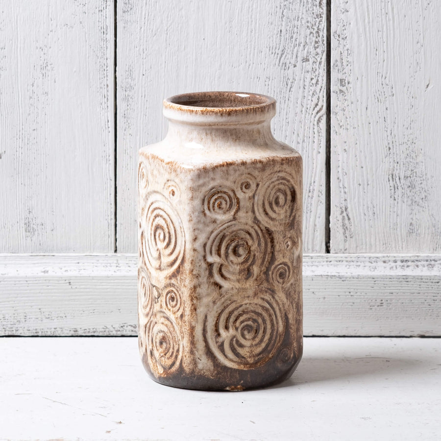Vintage West German Art Vase – with fossil design