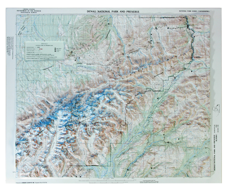Denali National Park Raised Relief Three Dimensional 3D map