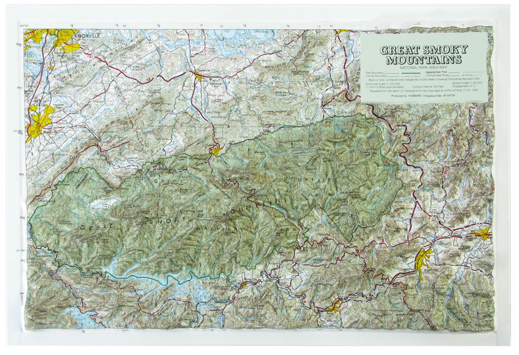 Great Smoky Mountains National Park Raised Relief Three Dimensional 3D Map