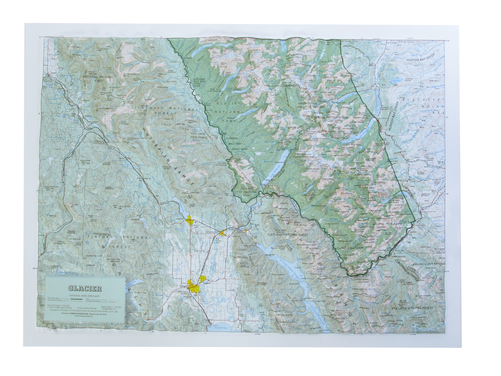 Glacier National Park Raised Relief Three Dimensional 3D Map