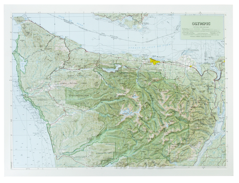 Olympic National Park Raised Relief Three Dimensional 3D Map