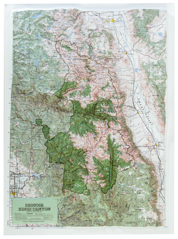 Sequoia-King Canyon National Park Raised Relief Three Dimensional 3D Map