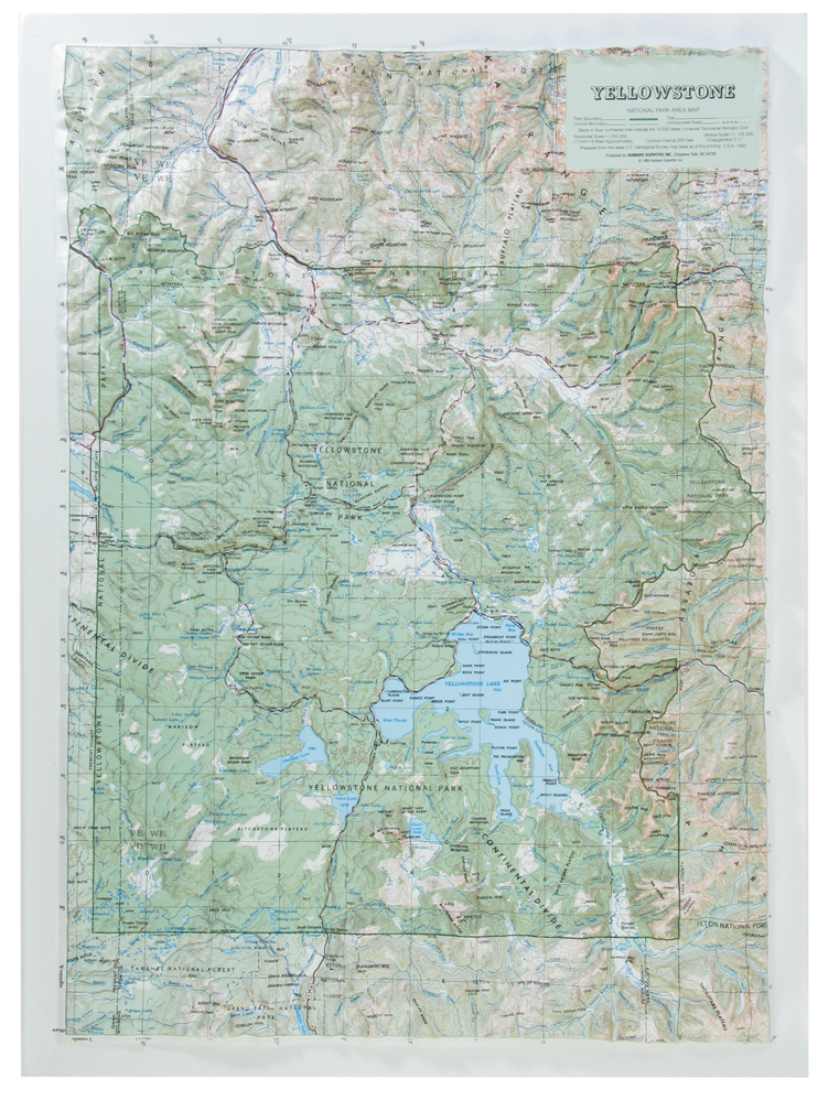 Yellowstone National Park Raised Relief Three Dimensional 3D Map