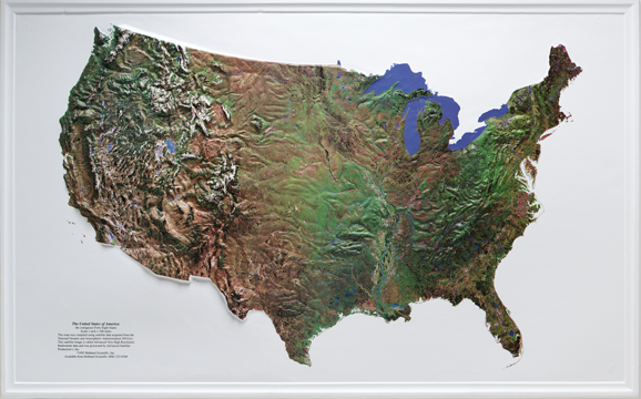 United States Mainland - Satellite Raised Relief Three Dimensional 3D map