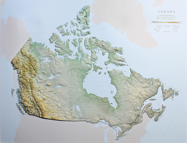 Canada Raised Relief Three Dimensional 3D map