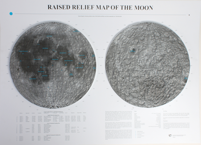 Moon Raised Relief Three Dimensional 3D map