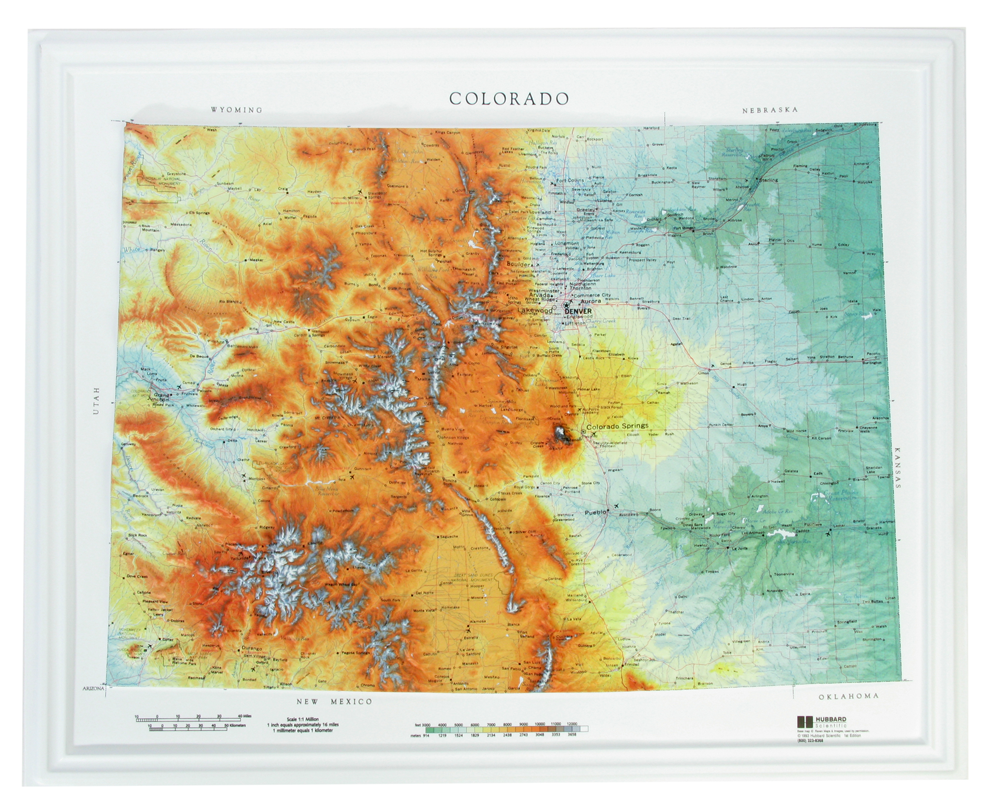 Colorado Raised Relief Three Dimensional 3D map