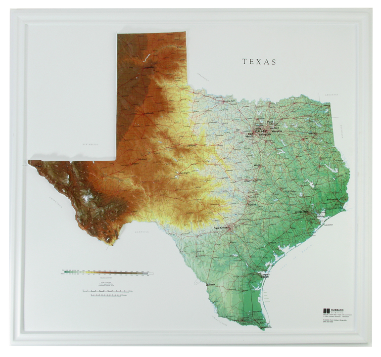 Texas Raised Relief Three Dimensional 3D map