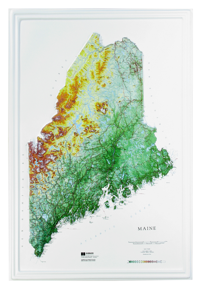 Maine Raised Relief Three Dimensional 3D map