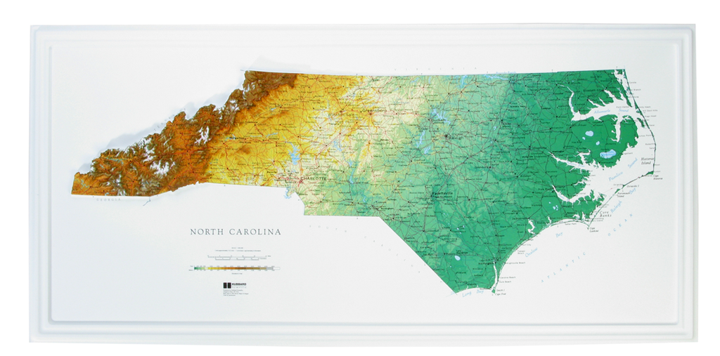North Carolina Raised Relief Three Dimensional 3D map