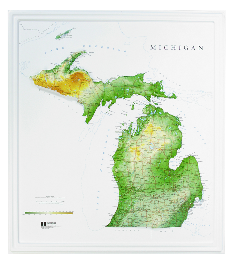 Michigan Raised Relief Three Dimensional 3D map