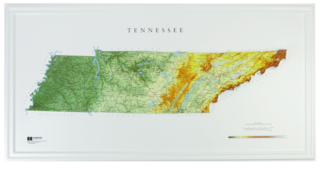 Tennessee Raised Relief Three Dimensional 3D map