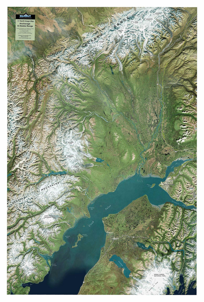 Anchorage & Alaska Range Satellite Image Three Dimensional 3D Raised Relief Map
