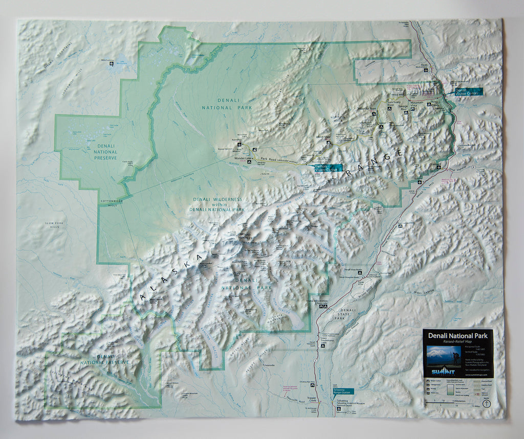Denali National Park Three Dimensional 3D Raised Relief Map