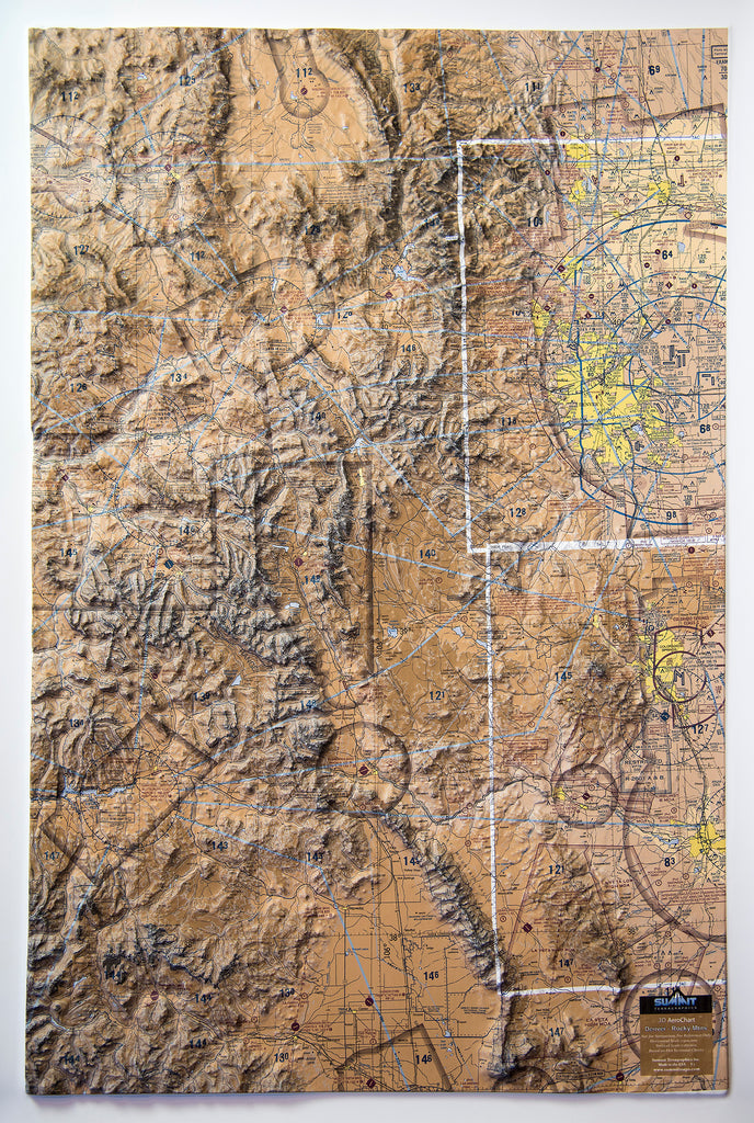 Denver Rocky Mountains Aerochart Three Dimensional 3D Raised Relief Map