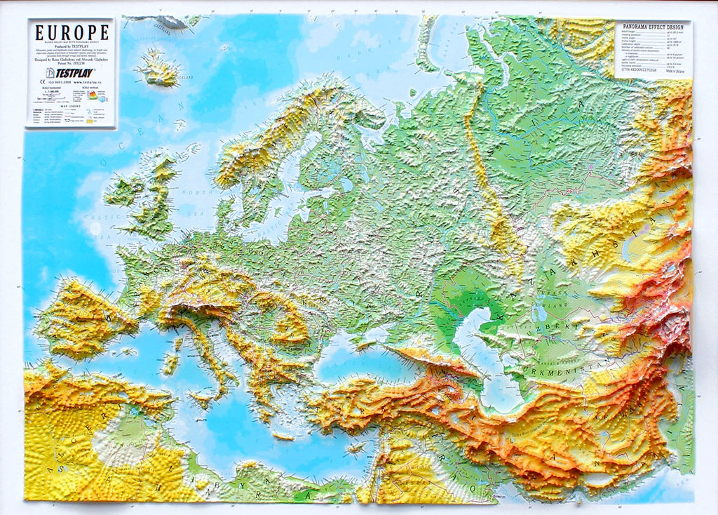 Europe Three Dimensional 3D Raised Relief Map by Testplay