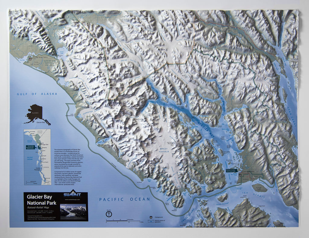 Glacier Bay National Park Three Dimensional 3D Raised Relief Map