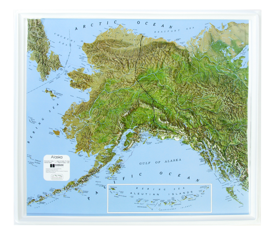 Alaska - Natural Color Relief (NCR) Series Raised Relief Three Dimensional 3D map