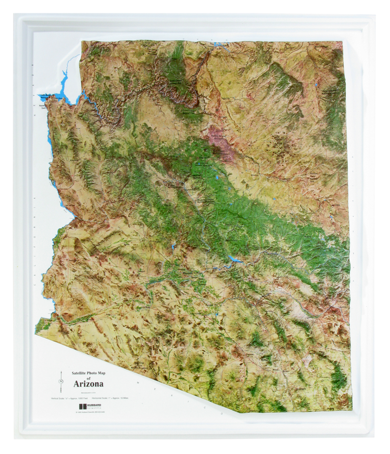 Arizona - Satelite Raised Relief Three Dimensional 3D map