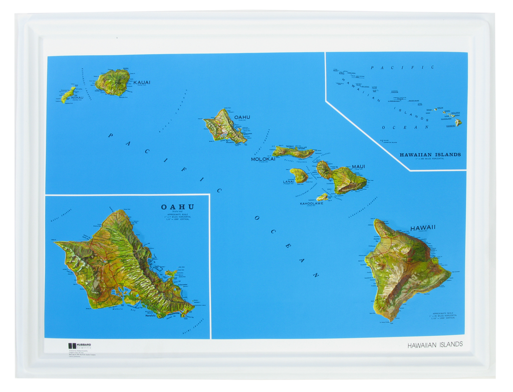 Hawaii - Natural Color Relief (NCR) Series Raised Relief Three Dimensional 3D map
