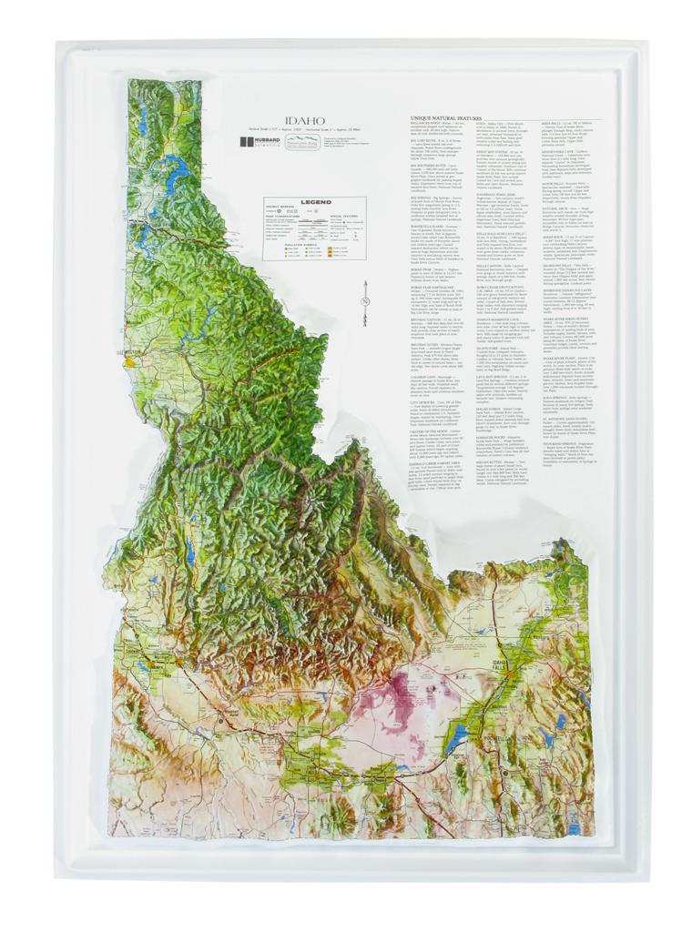 Idaho - Natural Color Relief (NCR) Series Raised Relief Three Dimensional 3D map