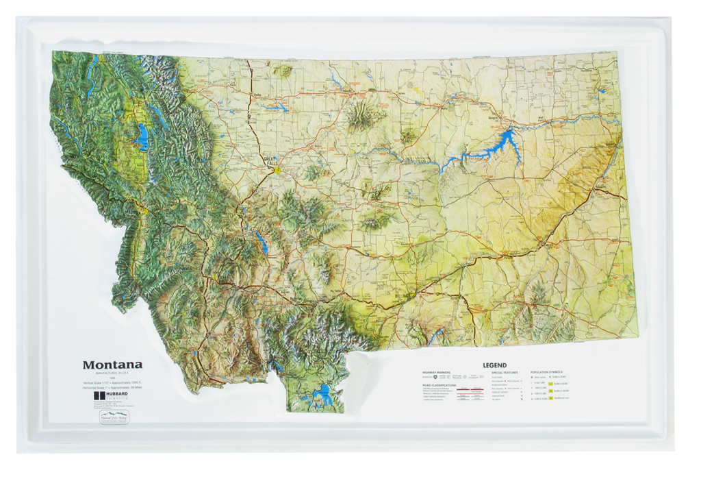 Montana - Natural Color Relief (NCR) Series Raised Relief Three Dimensional 3D map
