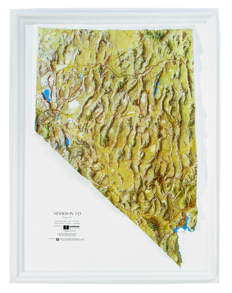 Nevada - Natural Color Relief (NCR) Series Raised Relief Three Dimensional 3D map
