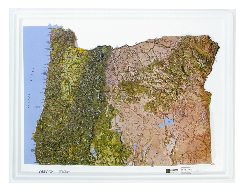 Oregon - Natural Color Relief (NCR) Series Raised Relief Three Dimensional 3D map