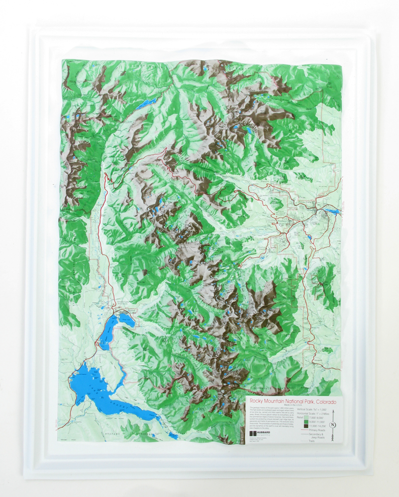 Rocky Mountain S-Series National Park Raised Relief Three Dimensional 3D Map