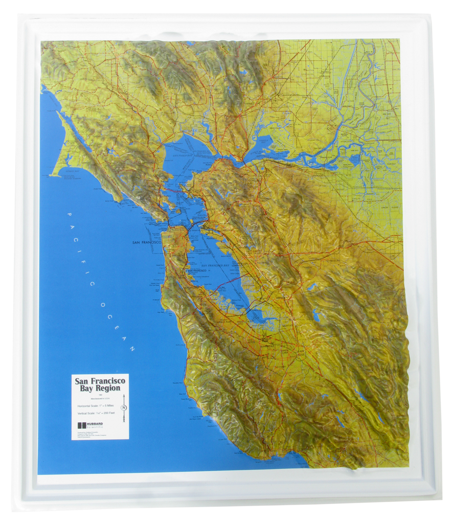 San Francisco Bay Region Raised Relief Three Dimensional 3D Map