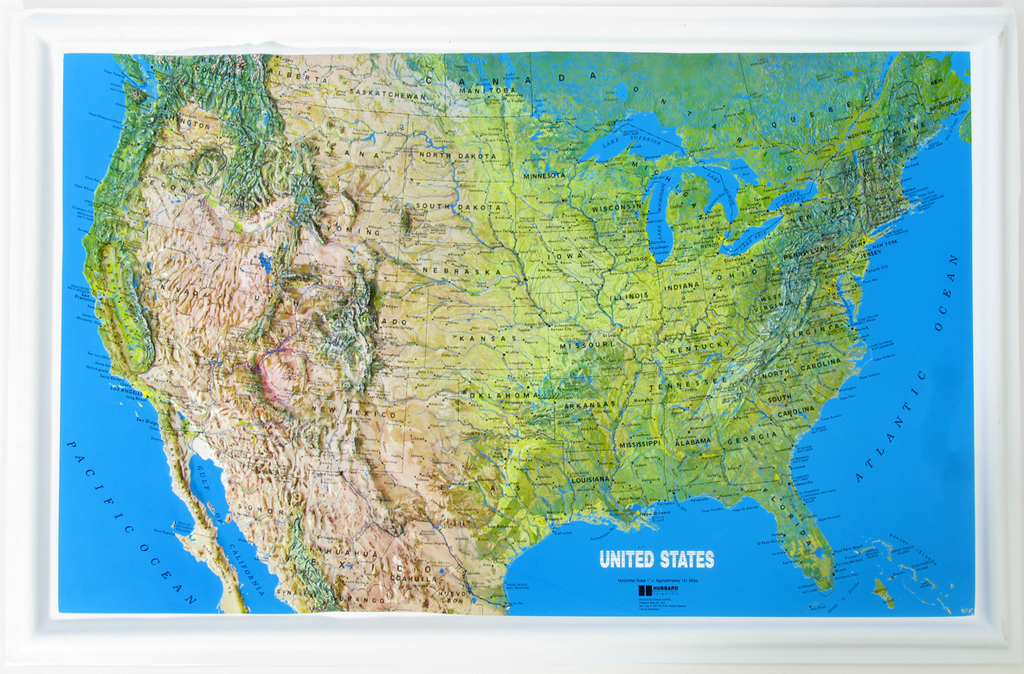 US Mainland - Natural Color Relief (NCR) Series Raised Relief Three Dimensional 3D map