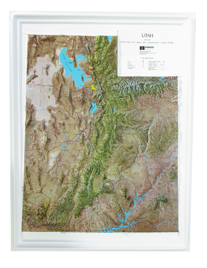 Utah - Natural Color Relief (NCR) Series Raised Relief Three Dimensional 3D map