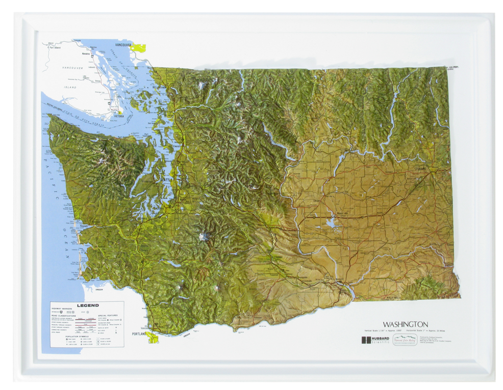 Washington - Natural Color Relief (NCR) Series Raised Relief Three Dimensional 3D map