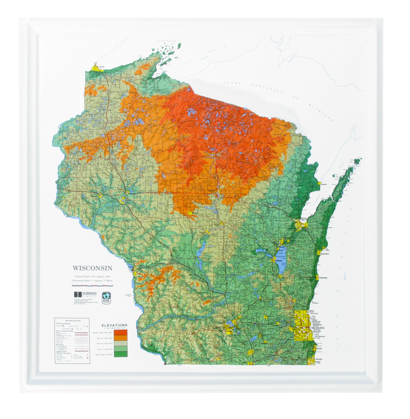 Wisconsin - Natural Color Relief (NCR) Series Raised Relief Three Dimensional 3D map
