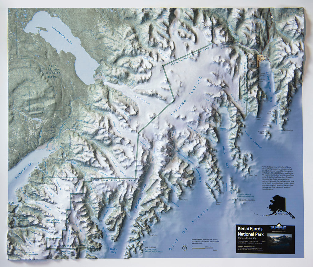 Kenai Fjords National Park Three Dimensional 3D Raised Relief Map