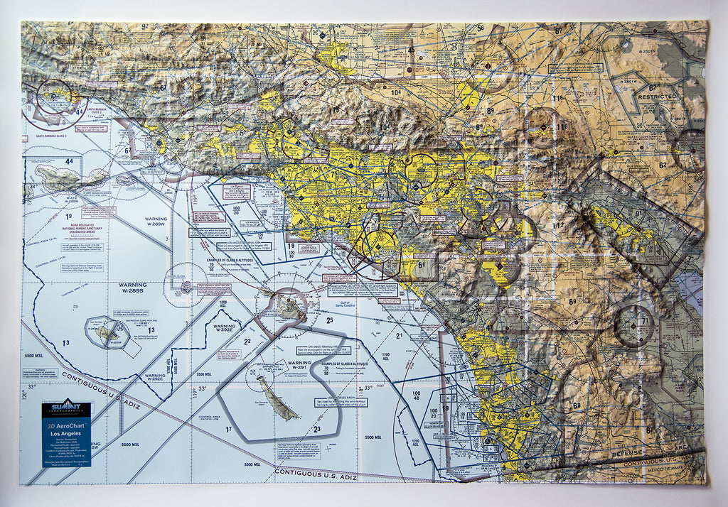 Los Angeles Aerochart Three Dimensional 3D Raised Relief Map