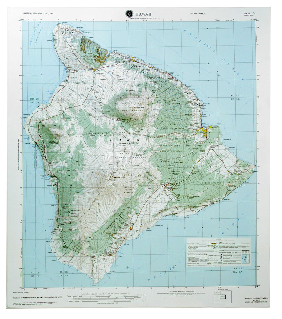 Hilo USGS Regional Raised Relief Three Dimensional 3D map