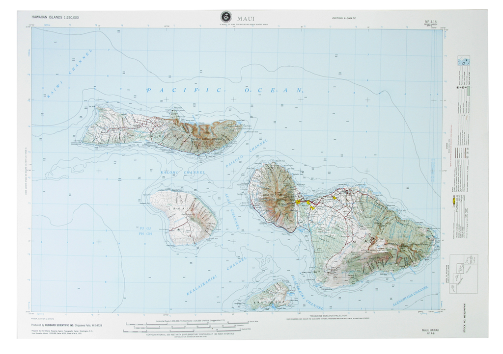 Maui USGS Regional Raised Relief Three Dimensional 3D map