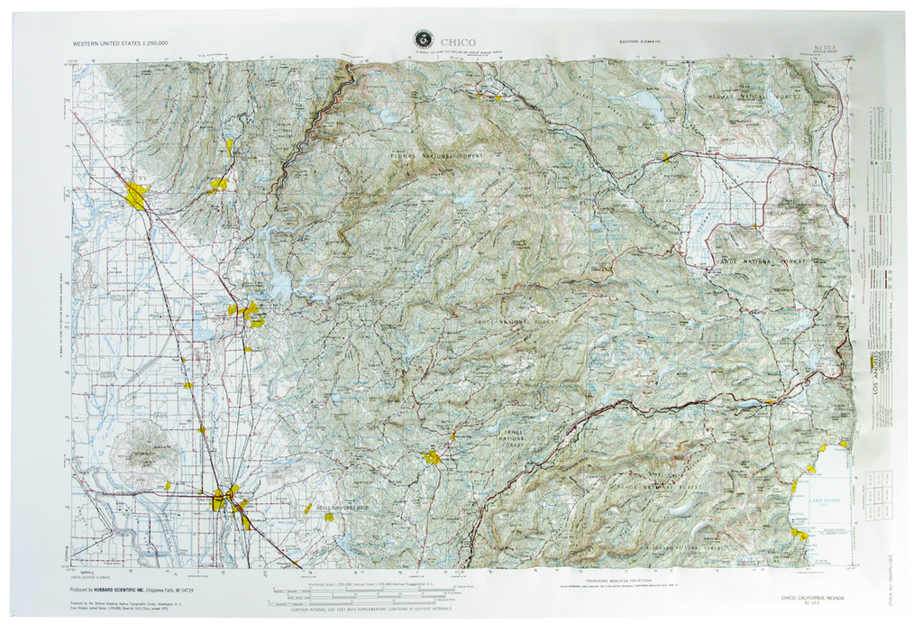 Chico USGS Regional Raised Relief Three Dimensional 3D map