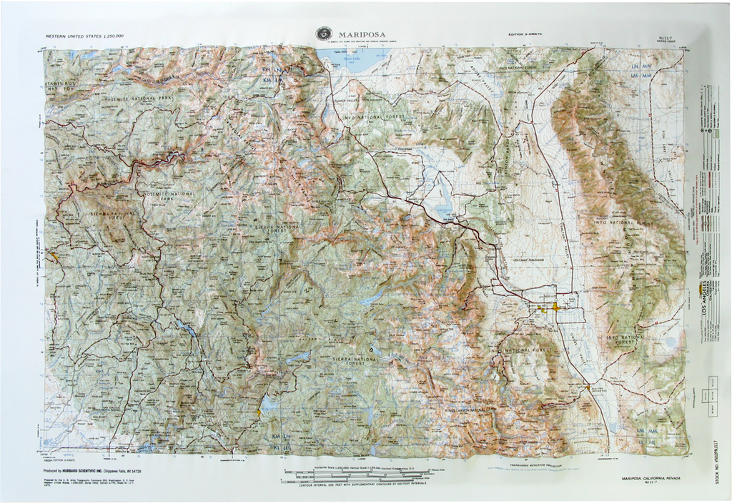 Mariposa USGS Regional Raised Relief Three Dimensional 3D map
